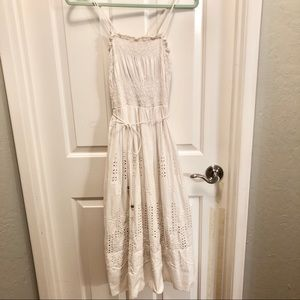 Anthropologie Lithe White Eyelet Dress S